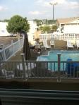 Creepy dude laying claim to the pool