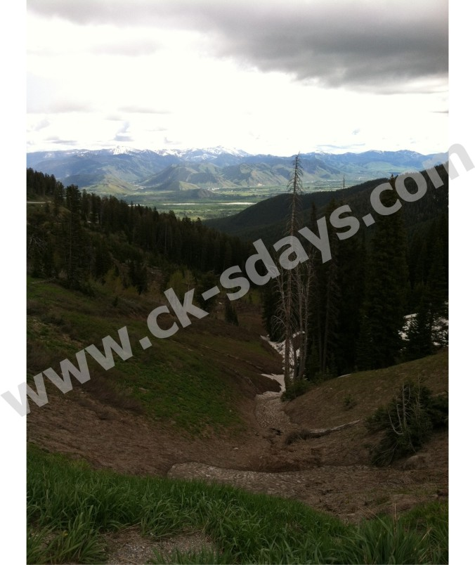A view of Jackson Hole, Wyoming in the valley.  On the summit of Teton Pass.